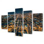 Set Tablouri Multicanvas 5 Piese Metropola in noapte