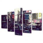 Set Tablouri Multicanvas 5 Piese Trafic in New York