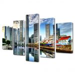 Set Tablouri Multicanvas 5 Piese Orasul Singapore