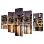 Set Tablouri Multicanvas 5 Piese Zgarie norii New york ului