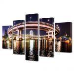 Set Tablouri Multicanvas 5 Piese Podul din Tokyo