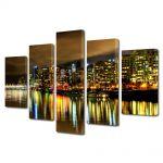 Set Tablouri Multicanvas 5 Piese Vancouver Canada Noaptea