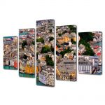 Set Tablouri Multicanvas 5 Piese Port in Norvegia