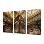 Set Tablouri Muilticanvas 3 Piese Vintage Aspect Retro Biblioteca moderna