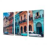 Set Tablouri Muilticanvas 3 Piese Vintage Aspect Retro Culorile din Havana