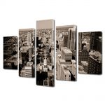 Set Tablouri Muilticanvas 5 Piese Vintage Aspect Retro Oras modern in sepia
