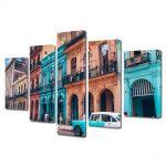 Set Tablouri Muilticanvas 5 Piese Vintage Aspect Retro Culorile din Havana