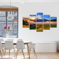 Set Tablouri Canvas 5 Piese Peisaj Cabana de lemn