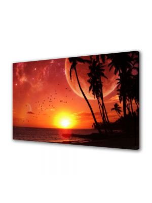 Tablou Canvas Luminos in intuneric VarioView LED Abstract Modern Apus pe plaja