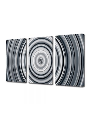 Set Tablouri Multicanvas 3 Piese Abstract Decorativ Cercuri B&W