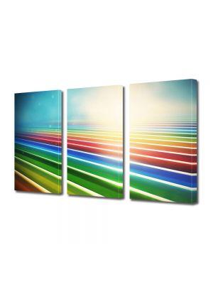 Set Tablouri Multicanvas 3 Piese Abstract Decorativ Dungile curcubeului