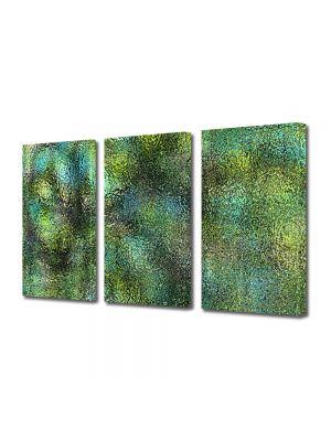 Set Tablouri Multicanvas 3 Piese Abstract Decorativ Verde scurs