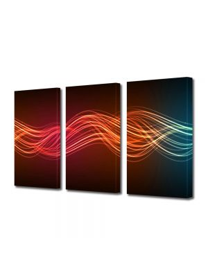 Set Tablouri Multicanvas 3 Piese Abstract Decorativ Unde luminoase