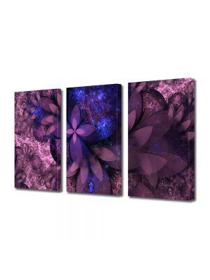 Set Tablouri Multicanvas 3 Piese Abstract Decorativ Flori violet