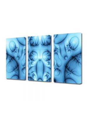 Set Tablouri Multicanvas 3 Piese Abstract Decorativ Colaj albastru