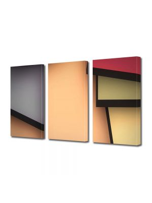 Set Tablouri Multicanvas 3 Piese Abstract Decorativ Desen