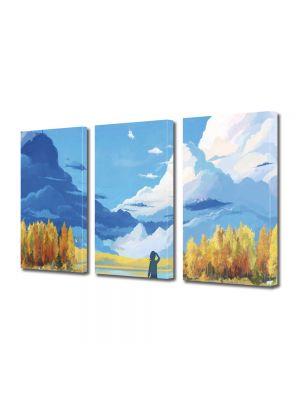 Set Tablouri Multicanvas 3 Piese Abstract Decorativ Animatie