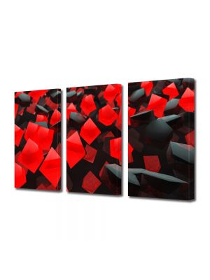 Set Tablouri Multicanvas 3 Piese Abstract Decorativ Cuburi rosi si negre