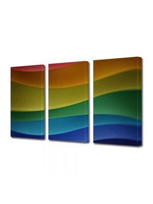Set Tablouri Multicanvas 3 Piese Abstract Decorativ Dealuri multicolore