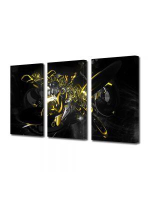 Set Tablouri Multicanvas 3 Piese Abstract Decorativ Compozitie cu galben si negru
