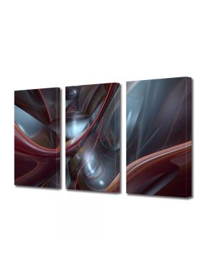 Set Tablouri Multicanvas 3 Piese Abstract Decorativ Plasma