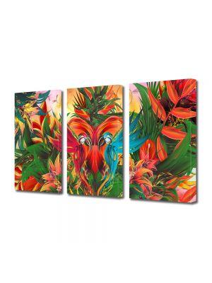 Set Tablouri Multicanvas 3 Piese Abstract Decorativ Gradina abstracta