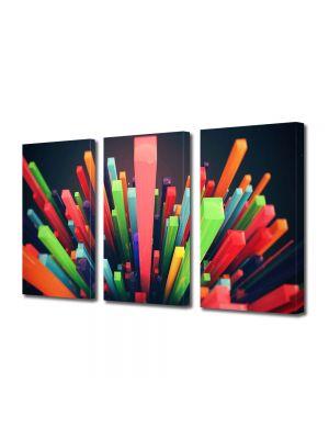 Set Tablouri Multicanvas 3 Piese Abstract Decorativ Zgarie nori abstracti