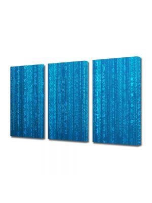 Set Tablouri Multicanvas 3 Piese Abstract Decorativ Codul binar