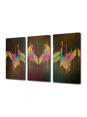 Set Tablouri Multicanvas 3 Piese Abstract Decorativ Unde colorate