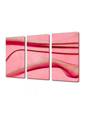 Set Tablouri Multicanvas 3 Piese Abstract Decorativ Roz abstract