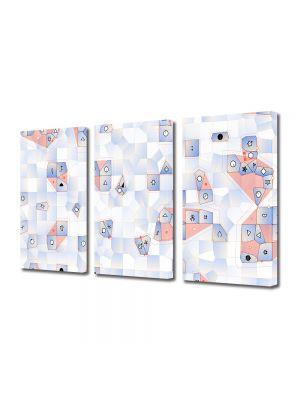 Set Tablouri Multicanvas 3 Piese Abstract Decorativ Joc