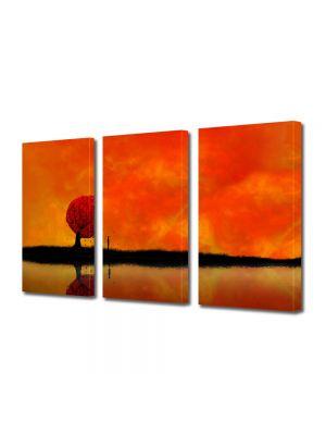 Set Tablouri Multicanvas 3 Piese Abstract Decorativ Amurg