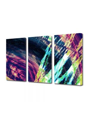 Set Tablouri Multicanvas 3 Piese Abstract Decorativ Saturat