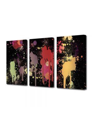 Set Tablouri Multicanvas 3 Piese Abstract Decorativ Pete de vopsea