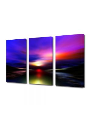 Set Tablouri Multicanvas 3 Piese Abstract Decorativ Aurora Boreala