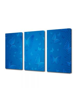 Set Tablouri Multicanvas 3 Piese Abstract Decorativ Fluturi albastri