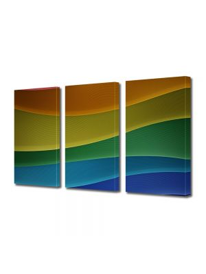 Set Tablouri Multicanvas 3 Piese Abstract Decorativ Dealuri colorate
