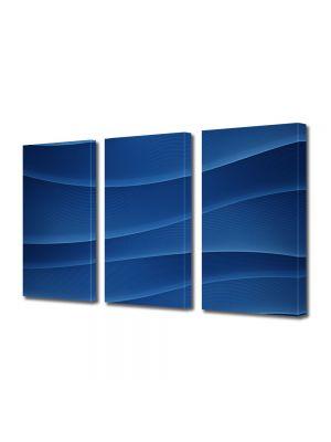 Set Tablouri Multicanvas 3 Piese Abstract Decorativ Dealuri albastre