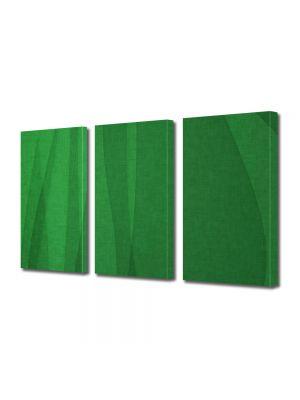 Set Tablouri Multicanvas 3 Piese Abstract Decorativ Matase verde
