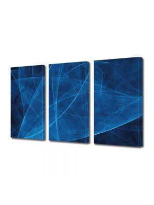 Set Tablouri Multicanvas 3 Piese Abstract Decorativ Asfalt albastru