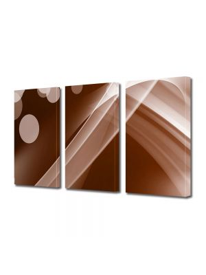 Set Tablouri Multicanvas 3 Piese Abstract Decorativ Maroniu