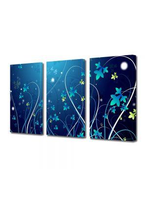Set Tablouri Multicanvas 3 Piese Abstract Decorativ Plante abstracte