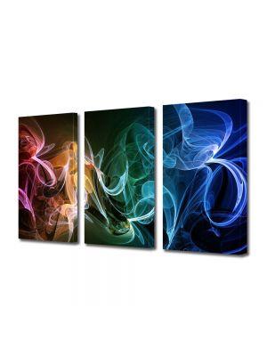 Set Tablouri Multicanvas 3 Piese Abstract Decorativ Fum multicolor