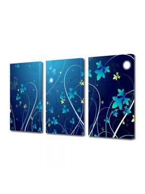 Set Tablouri Multicanvas 3 Piese Abstract Decorativ Flori