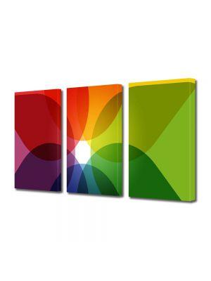 Set Tablouri Multicanvas 3 Piese Abstract Decorativ Nuante de culoare