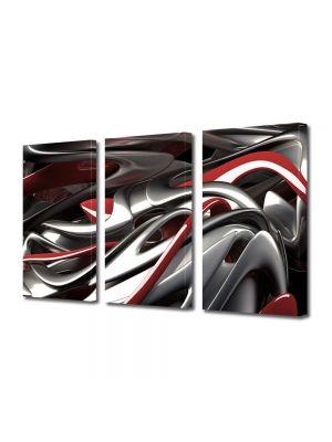 Set Tablouri Multicanvas 3 Piese Abstract Decorativ Plastic topit