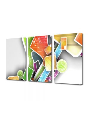 Set Tablouri Multicanvas 3 Piese Abstract Decorativ Asezare artistica