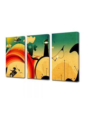 Set Tablouri Multicanvas 3 Piese Abstract Decorativ Desen contemporan