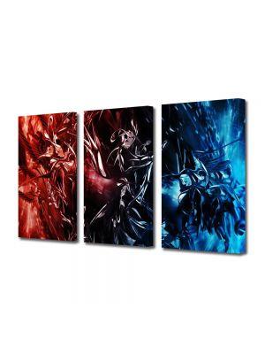 Set Tablouri Multicanvas 3 Piese Abstract Decorativ Foc si gheata