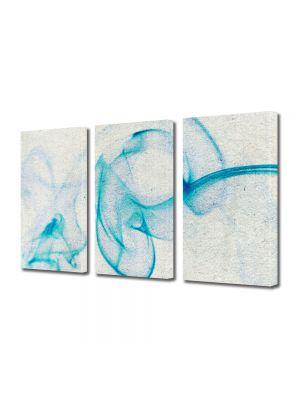 Set Tablouri Multicanvas 3 Piese Abstract Decorativ Fum bleu